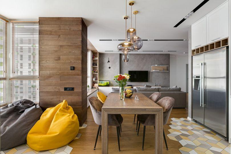 деревянные панели в гостинной