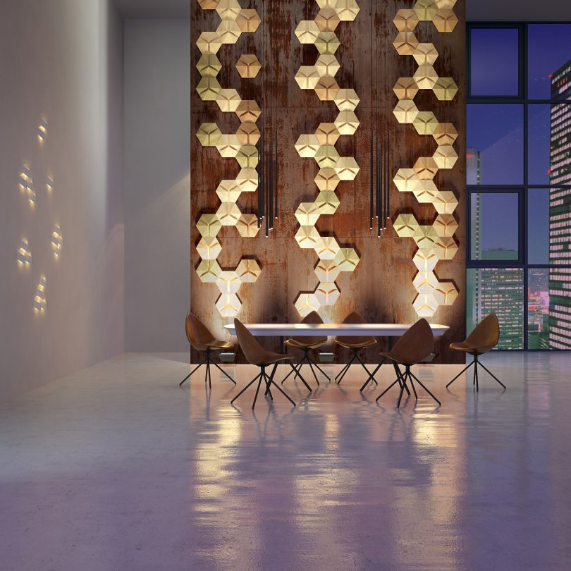 панели из дерева Optics Haxagon в интерьере