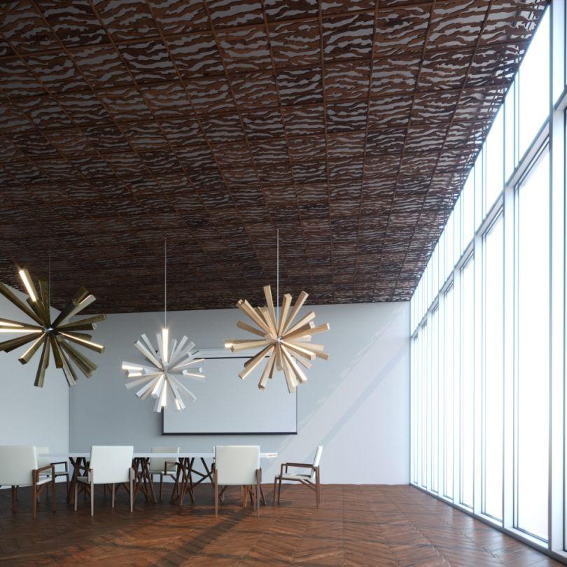 потолок отделка шпоном