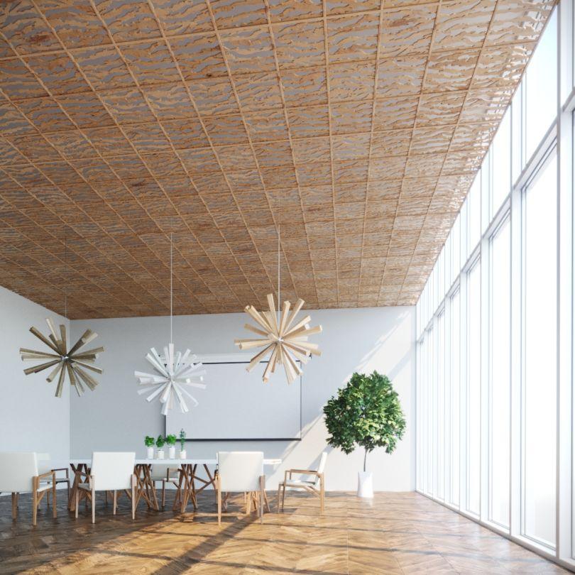 отделка потолка деревом