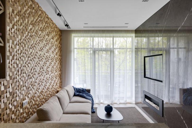 деревянные панели для гостиной