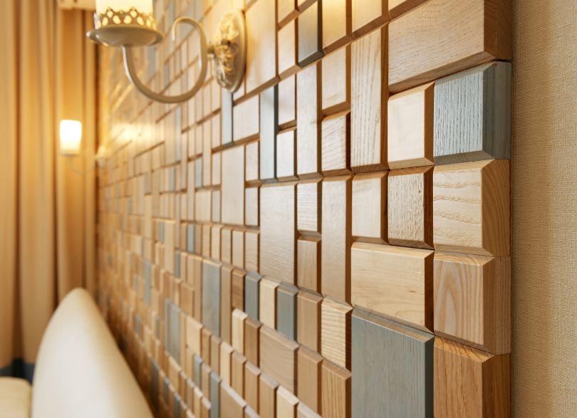панели из дерева в спальни