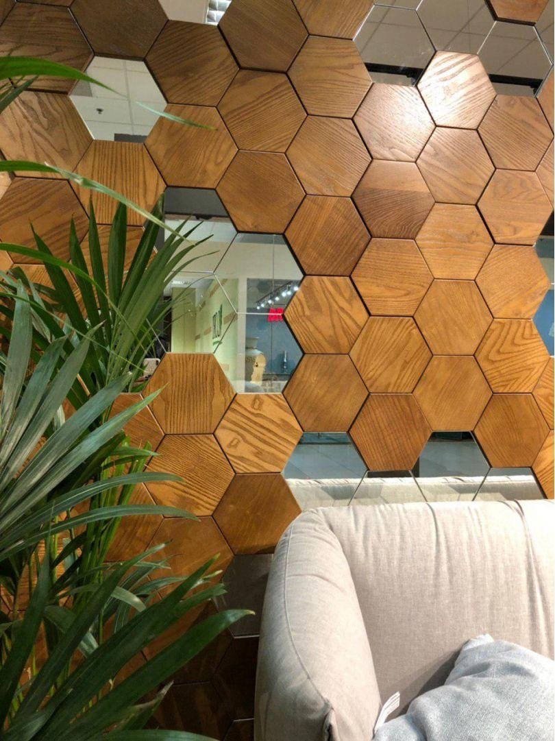 деревянные панели с зеркалом
