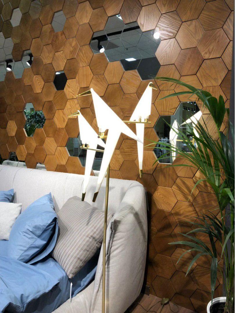 панели из деревянной мозаики с зеркальными вставками