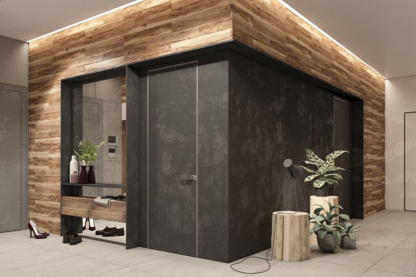деревянные панели в прихожей