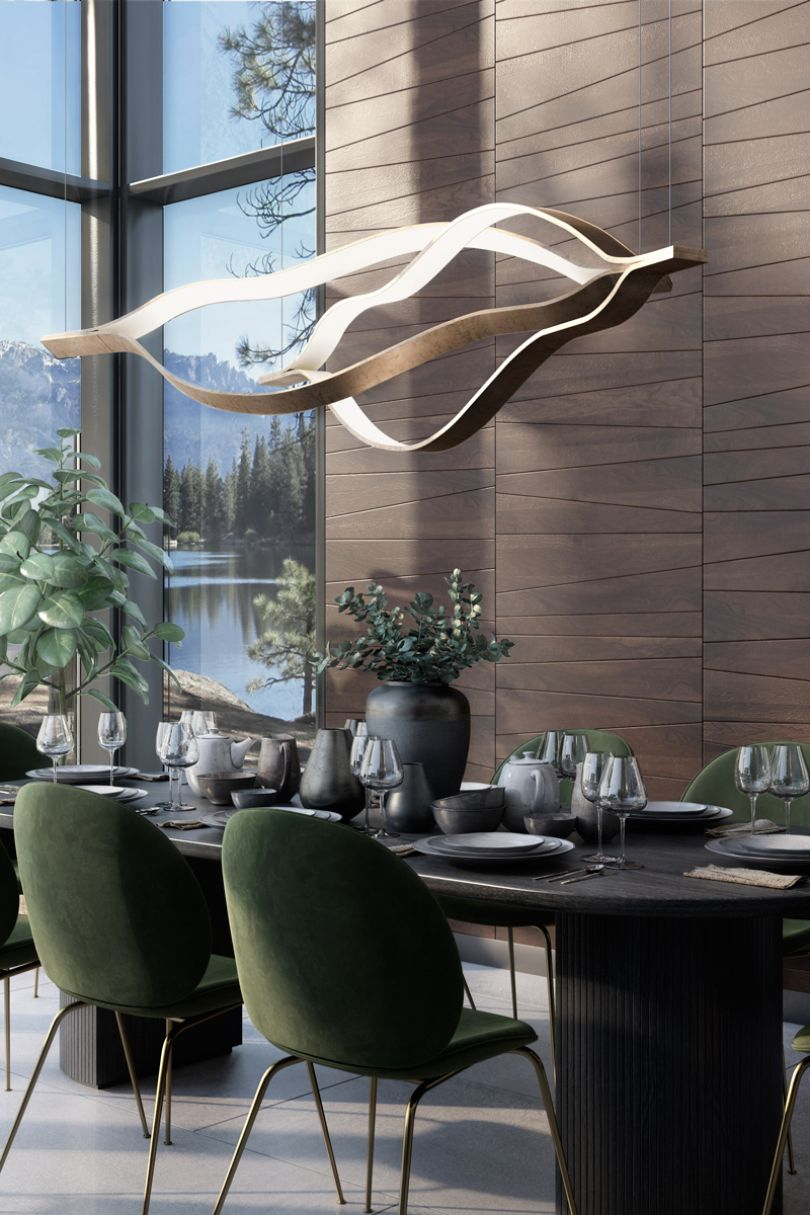 стеновые панели из дерева в столовой
