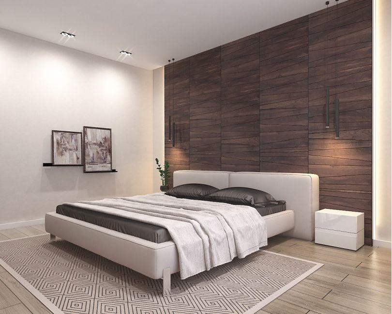 деревянные панели в спальне