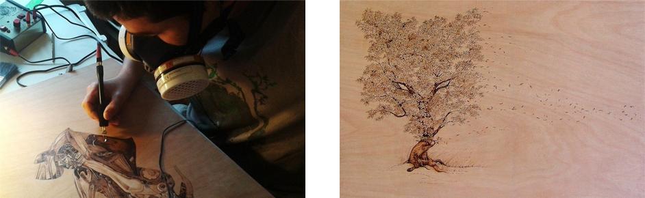 Рисунок на деревянном полотне